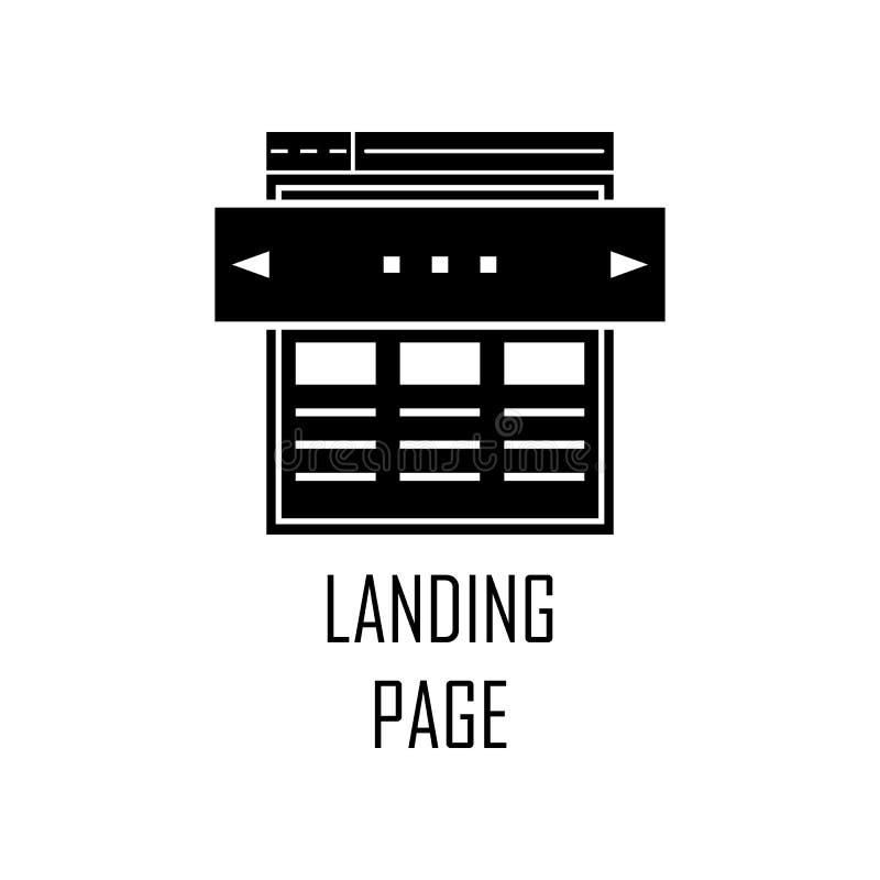 Icono de aterrizaje de la página Elemento del desarrollo web para los apps móviles del concepto y del web El icono detallado de l ilustración del vector