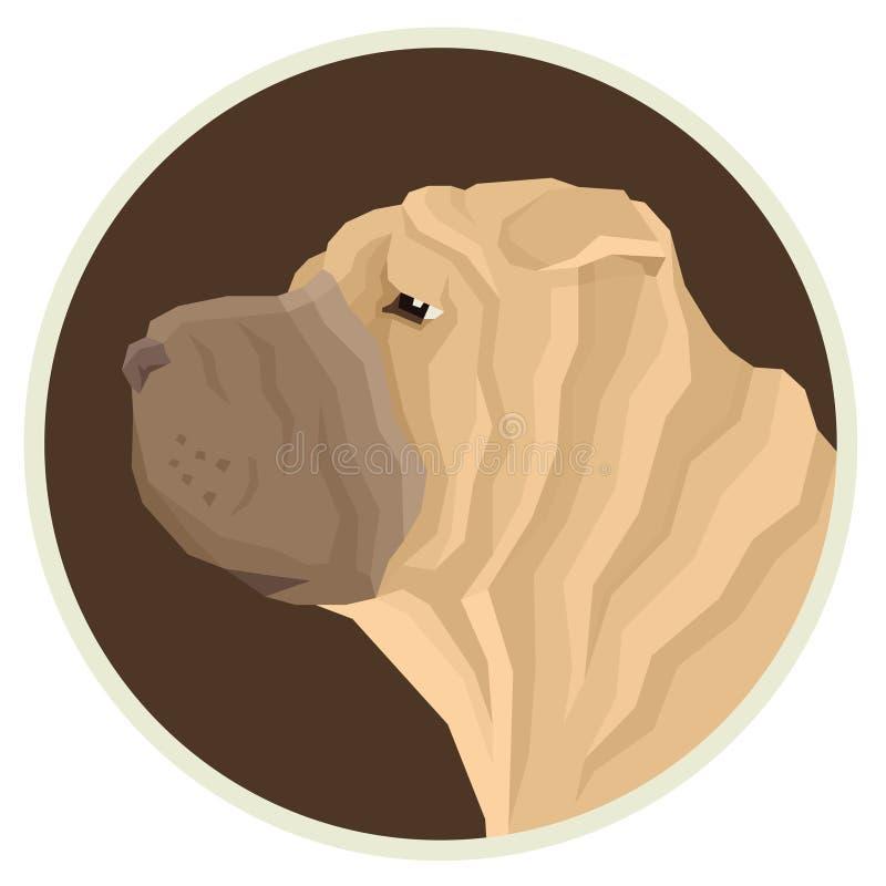 Icono de Avatar del estilo de Shar Pei Geometric de la colección del perro redondo libre illustration