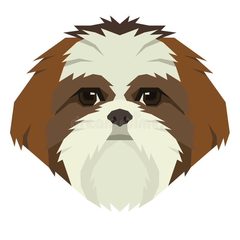 Icono de Avatar del estilo de Shih Tzu Geometric de la colección del perro stock de ilustración