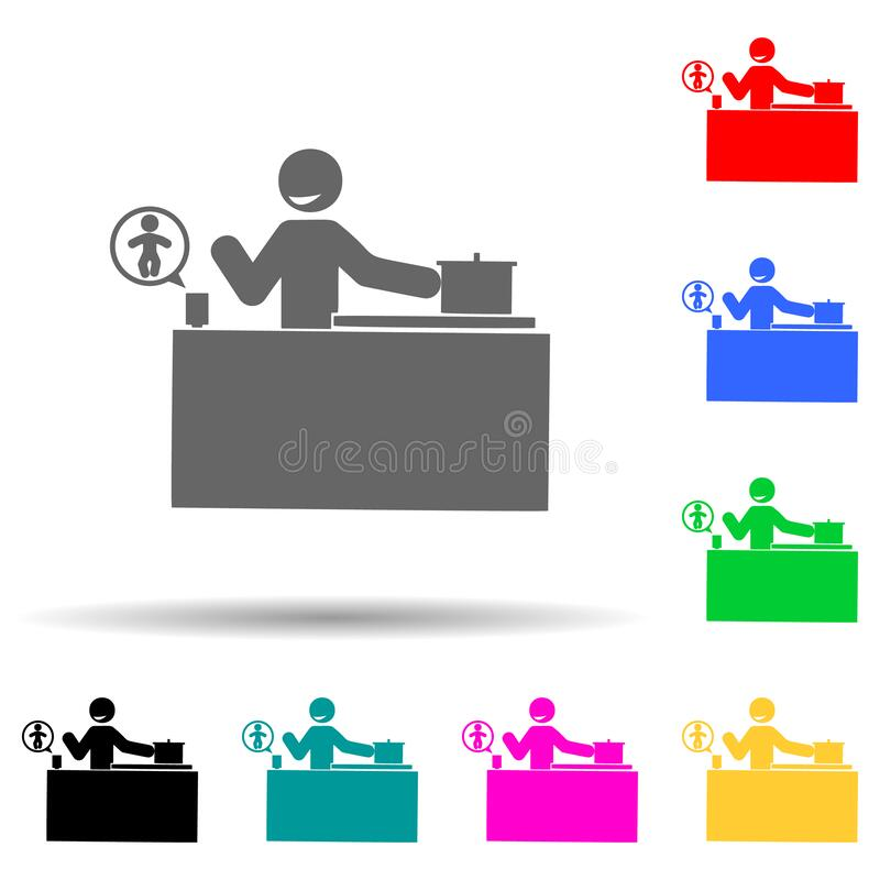 Icono de Baby, Camera, Control de Estilo Multicolor Glifo simple, vector plano de iconos de bebé para ui y ux, sitio web o aplica stock de ilustración