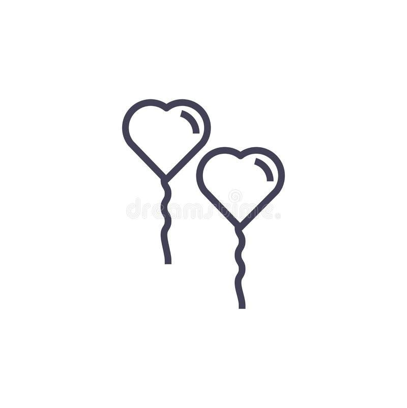 Icono de Baloon del amor, línea e icono moderno ilustración del vector