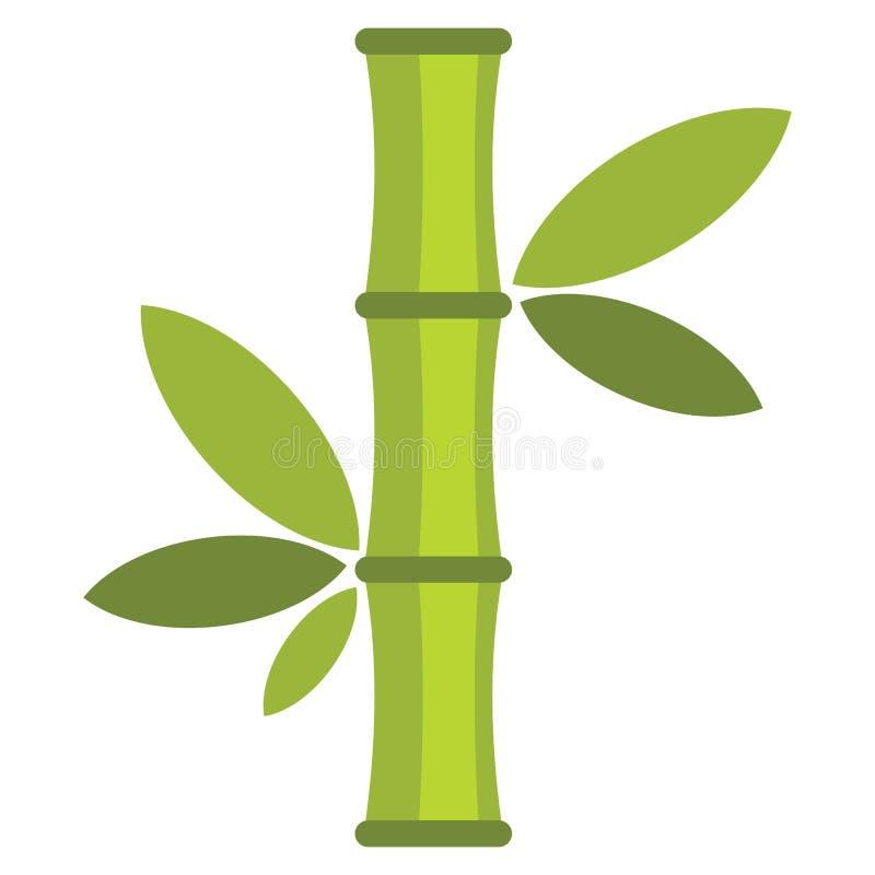 Icono de bambú del verde plano de la historieta aislado en el fondo blanco stock de ilustración