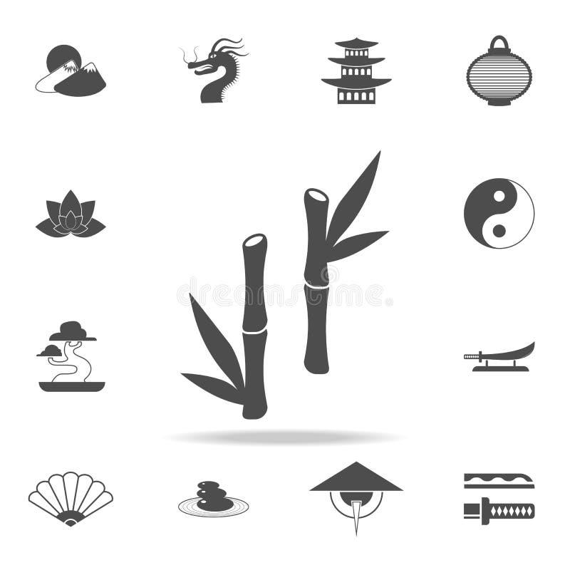 Icono de bambú Sistema de iconos chinos de la cultura Diseño gráfico de la calidad superior de los iconos del web Muestras y cole libre illustration