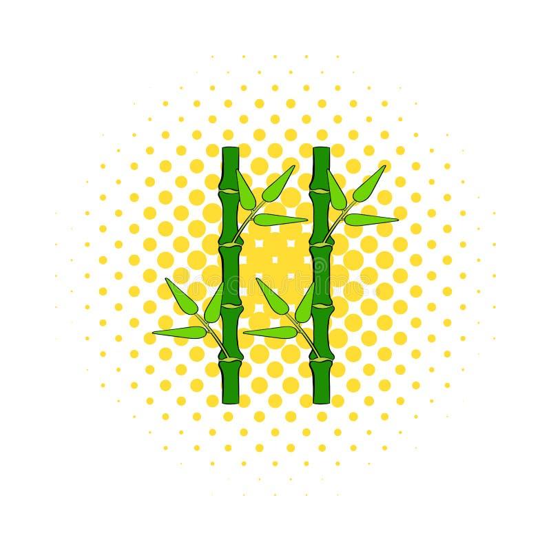 Icono de bambú verde del tronco en estilo de los tebeos ilustración del vector