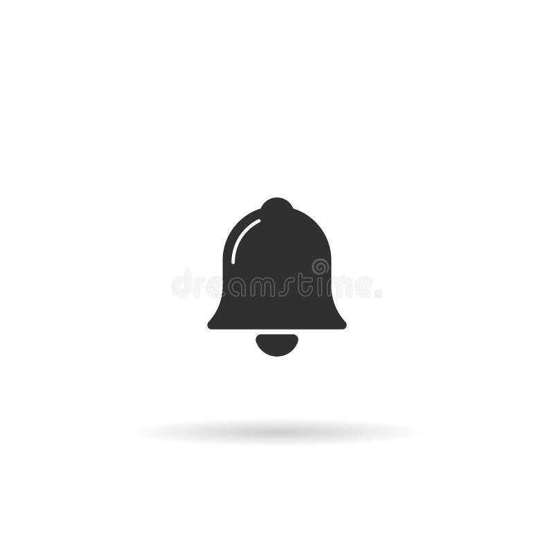 Icono de Bell símbolo plano del estilo del vector aislado en blanco stock de ilustración