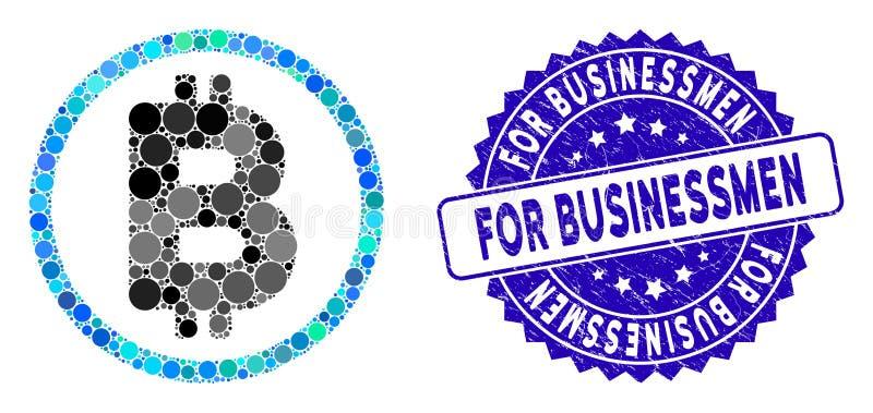 Icono de bitcoin collage con sello de hombre de negocios libre illustration