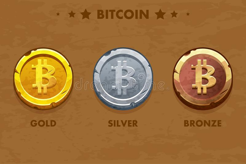 Icono de Bitcoin del oro, de la plata y del bronce Digitaces o cryptocurrency virtual moneda y efectivo electrónico libre illustration