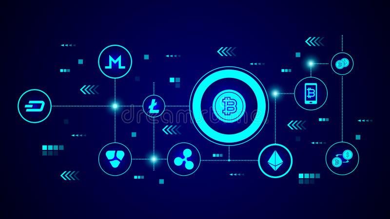 Icono de Bitcoin De sistema crypto ilustración del vector