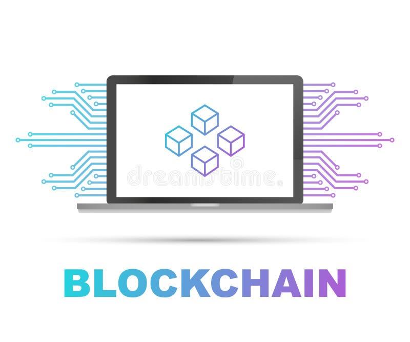 Icono de Blockchain en la pantalla del ordenador portátil, cubos conectados en la exhibición Símbolo de la base de datos, del cen ilustración del vector