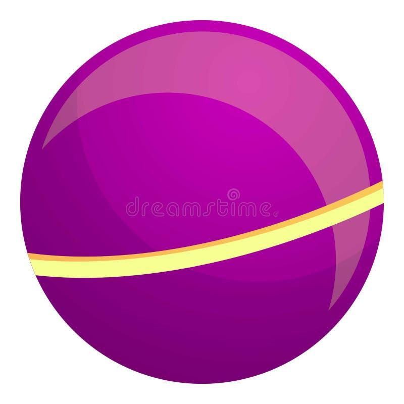 Icono de bola de niño púrpura, estilo de caricatura ilustración del vector