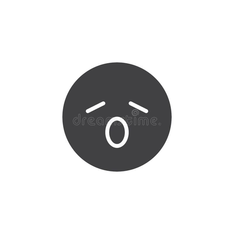 Icono de bostezo del vector del emoji de la cara stock de ilustración