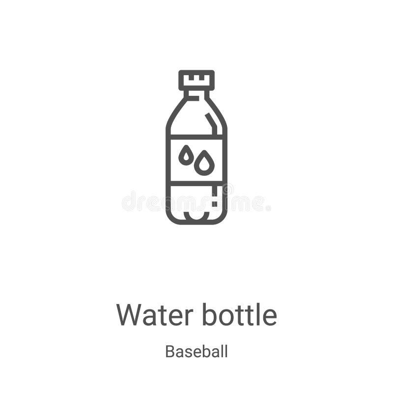 Icono de botella de agua vector de la colección de béisbol Ilustración vectorial del contorno de botella de agua ligera Símbolo l ilustración del vector