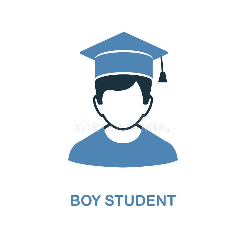 Icono de Boy del estudiante Ejemplo simple del elemento Diseño perfecto del icono del pixel de Boy del estudiante de la colección stock de ilustración