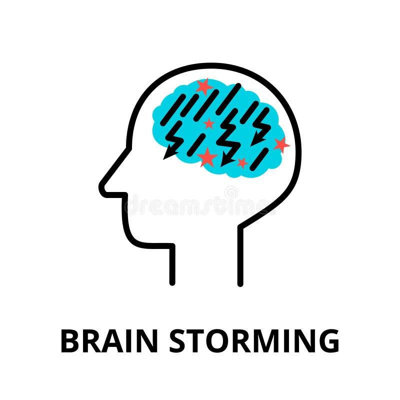 Icono de Brain Storming, línea fina plana ejemplo del vector stock de ilustración