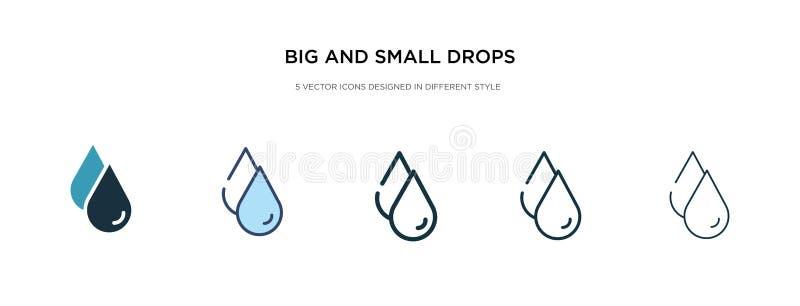 Icono de caídas grandes y pequeñas en ilustración vectorial de estilo diferente dos coloridos y negros grandes y pequeñas gotas i stock de ilustración