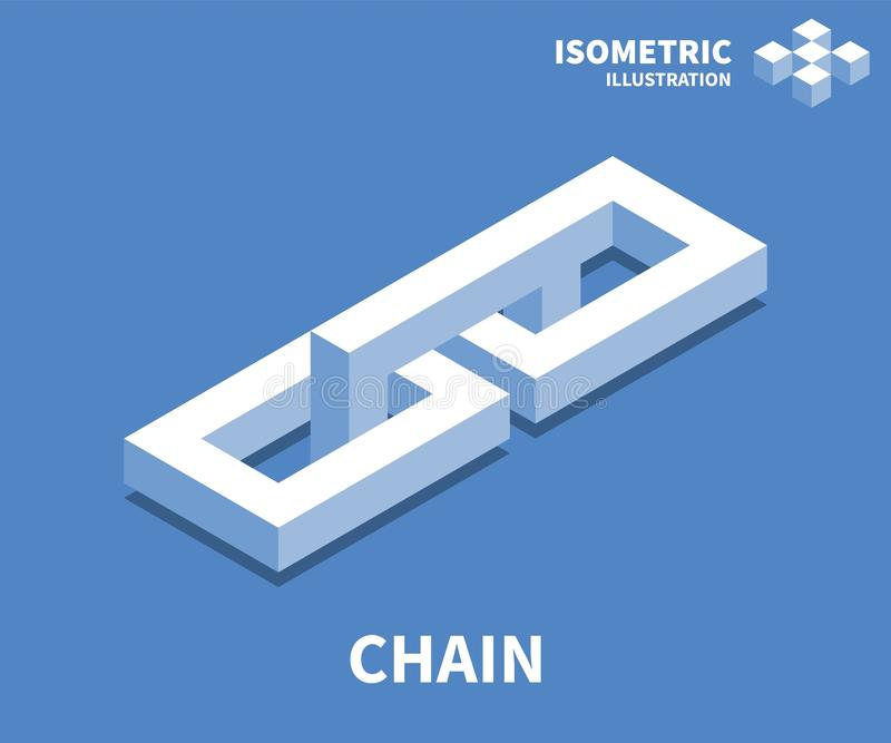 Icono de cadena, ejemplo del vector en el estilo isométrico plano 3D libre illustration