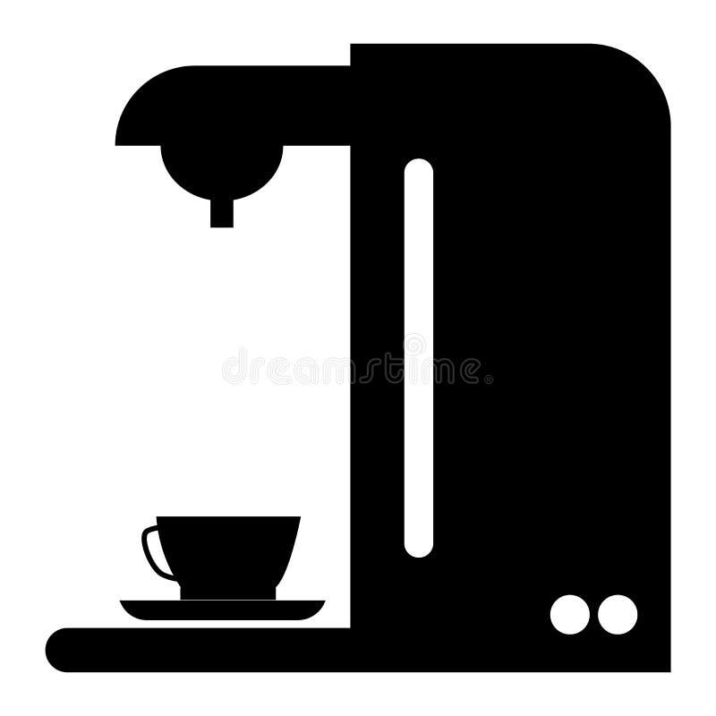 Icono de cafetera sobre fondo blanco estilo plano símbolo espresso signo cafetera libre illustration