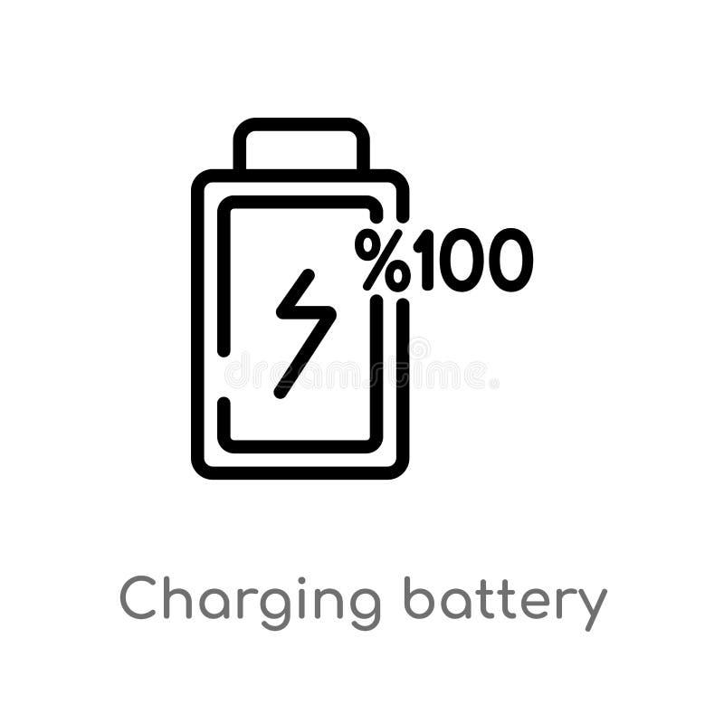 icono de carga del vector de la batería del esquema línea simple negra aislada ejemplo del elemento del concepto electrónico del  stock de ilustración