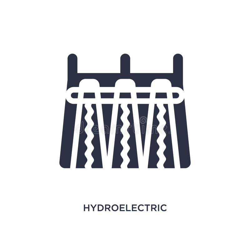 icono de central hidroeléctrica en el fondo blanco Ejemplo simple del elemento del concepto de la ecología ilustración del vector