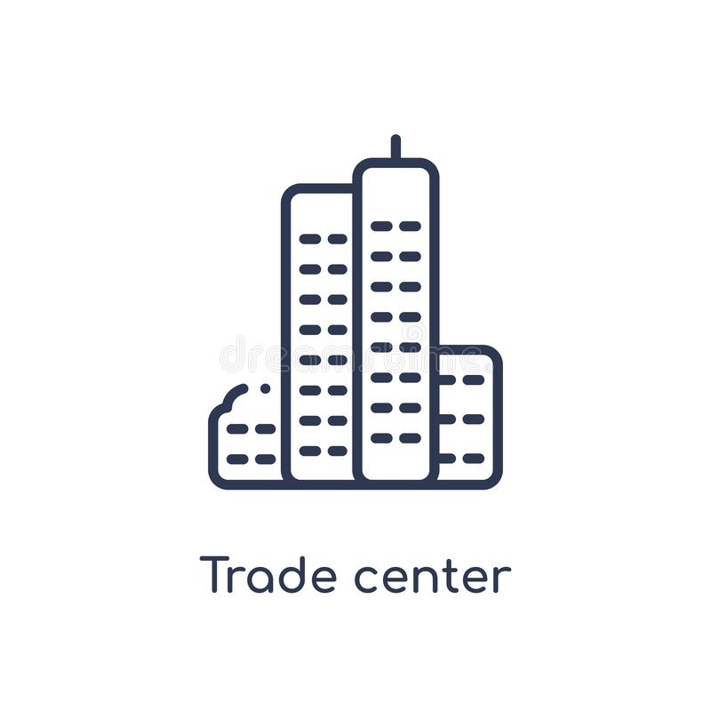 Icono de centro comercial linear de la colección del esquema de los edificios Línea fina vector de centro del comercio aislado en stock de ilustración