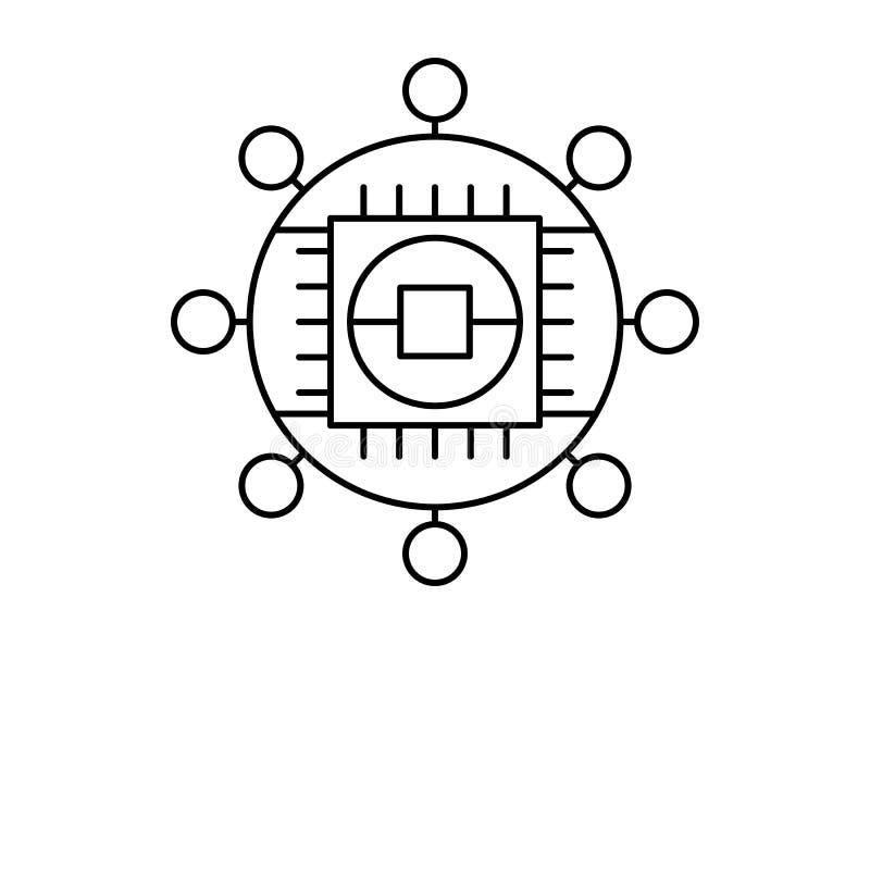 Icono de chip del mundo de la tecnología robótica Elemento de icono robótico stock de ilustración