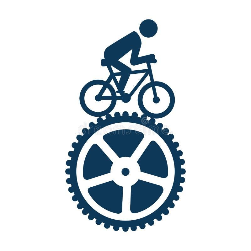 Icono de ciclo del emblema del deporte ilustración del vector