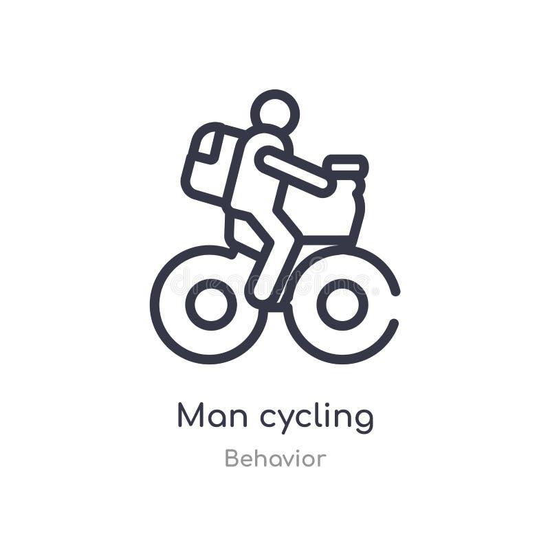 icono de ciclo del esquema del hombre l?nea aislada ejemplo del vector de la colecci?n del comportamiento icono de ciclo del homb ilustración del vector