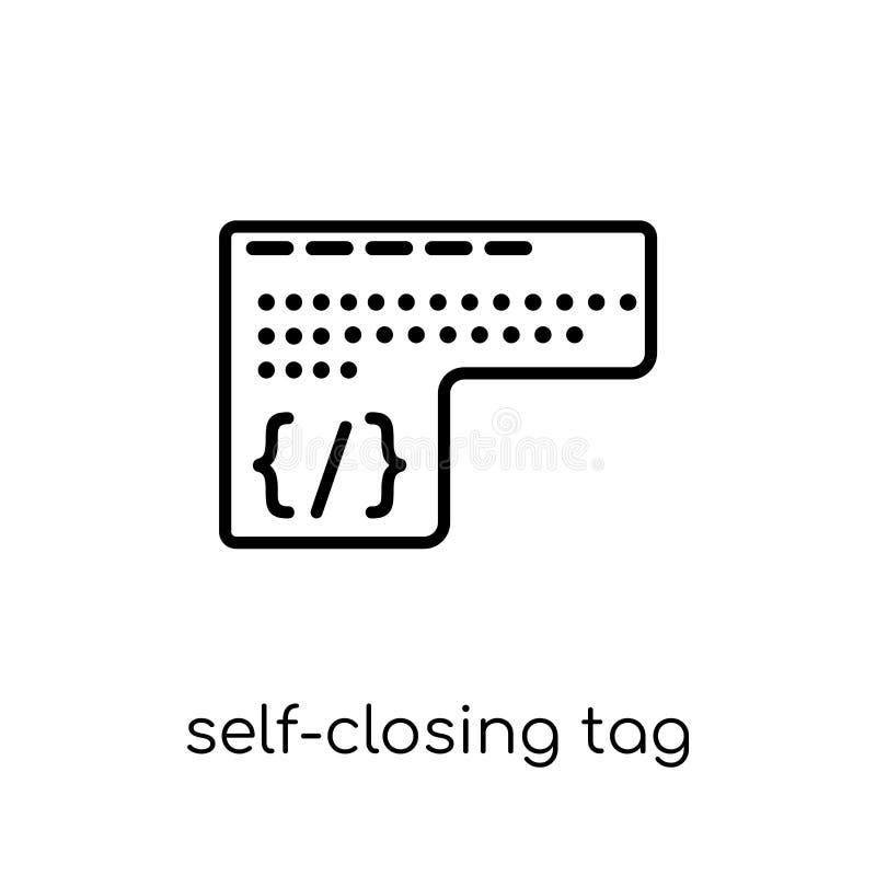 Icono de cierre automático de la etiqueta Uno mismo-clo lineares planos modernos de moda del vector stock de ilustración