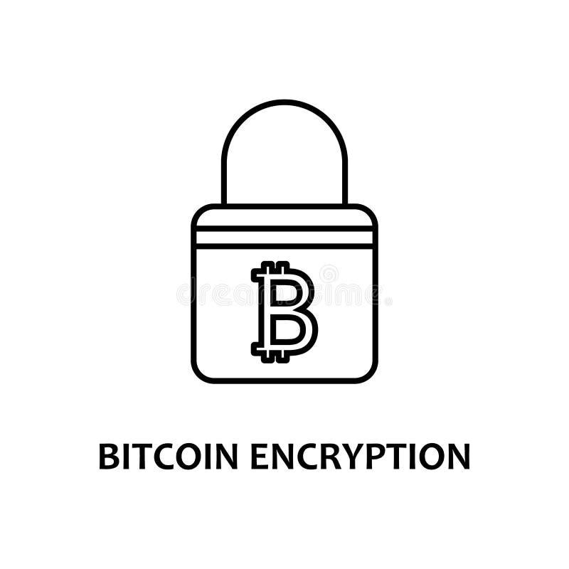 icono de cifrado de bitcoin con nombre Elemento de moneda criptográfica para concepto móvil y aplicaciones web Icono de cifrado d stock de ilustración