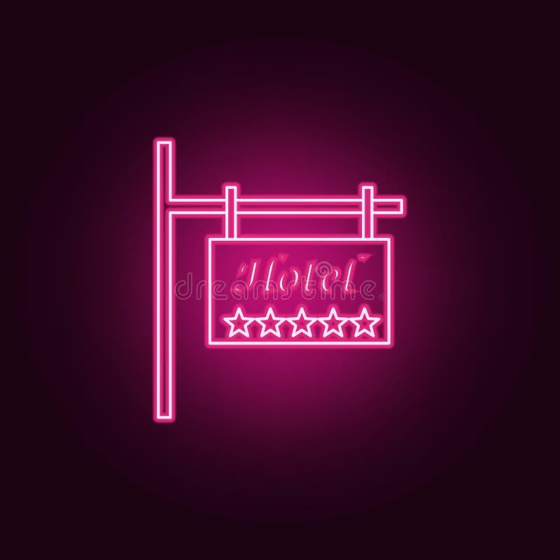 icono de cinco estrellas del hotel de la señal de tráfico Elementos del hotel en los iconos de neón del estilo Icono simple para  libre illustration