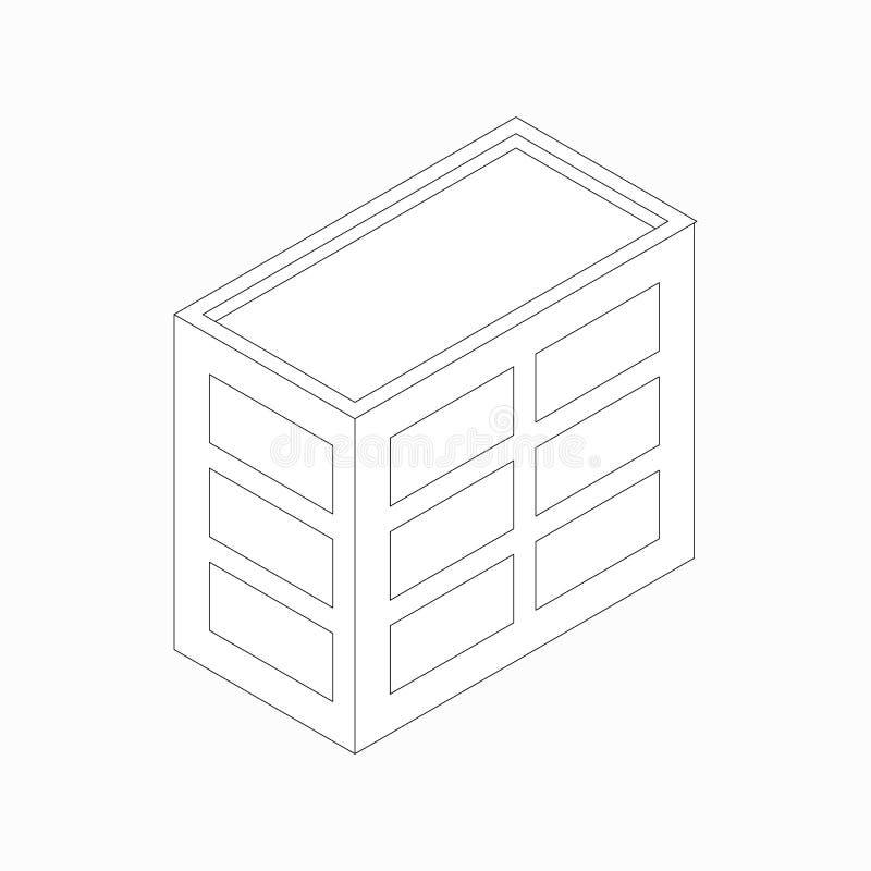 Icono de cintura baja del edificio de oficinas, estilo isométrico 3d stock de ilustración