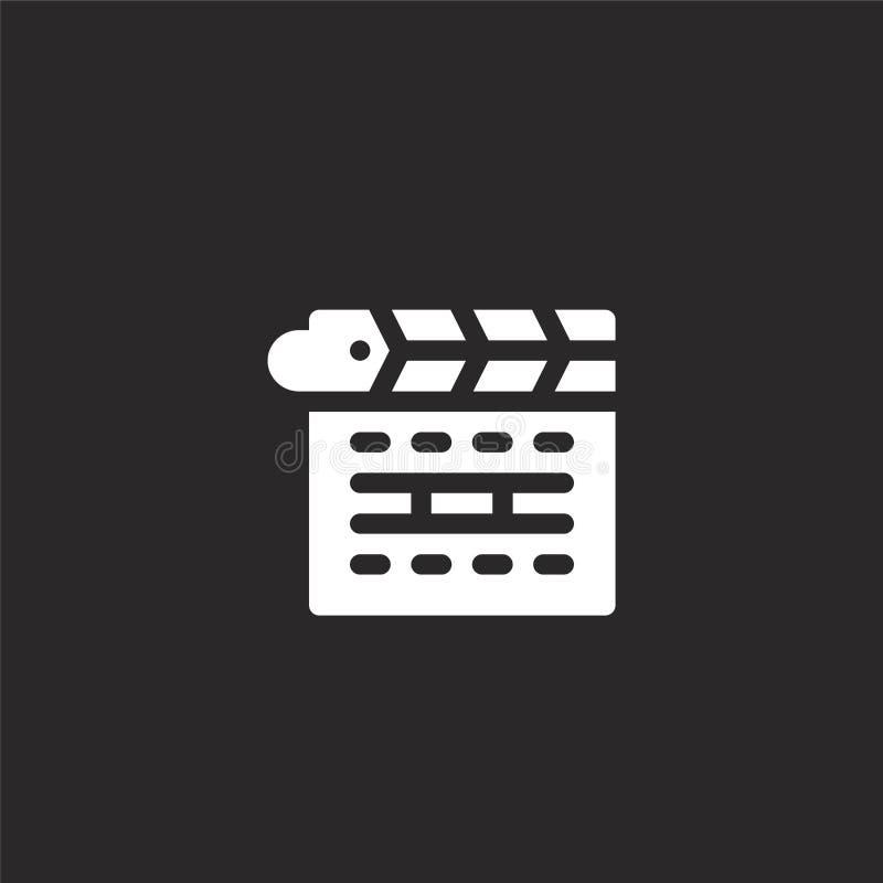 Icono de Clapperboard Icono llenado del clapperboard para el diseño y el móvil, desarrollo de la página web del app icono del cla stock de ilustración