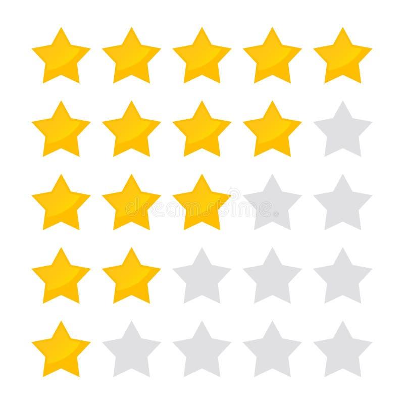 Icono de clasificación de cinco estrellas del ejemplo del vector Colección aislada de la insignia para la página web o el app stock de ilustración