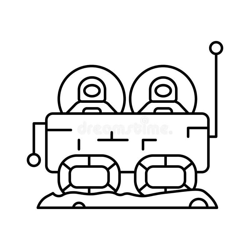 Icono de coche de máquina Cosmonaut Línea simple, contorno vectorial elementos de iconos de colonización interplanetaria para ui  ilustración del vector