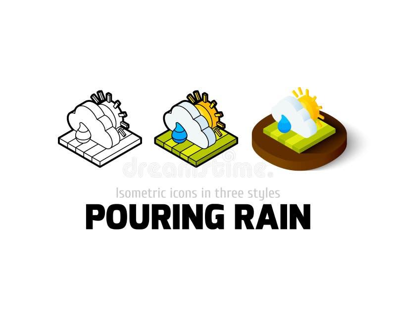 Icono de colada de la lluvia en diverso estilo ilustración del vector