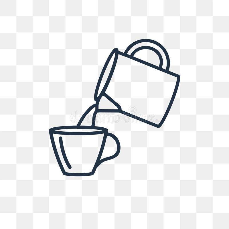 Icono de colada del vector de Coffe aislado en el fondo transparente, li ilustración del vector