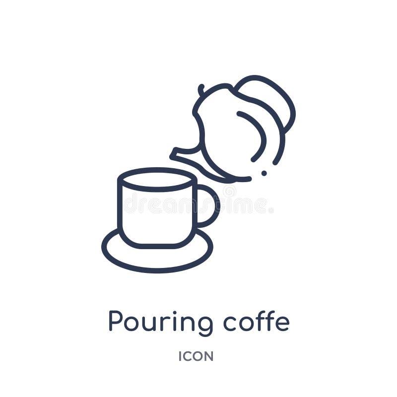 Icono de colada linear del coffe de la colección del esquema de los bistros y del restaurante Línea fina vector de colada del cof libre illustration