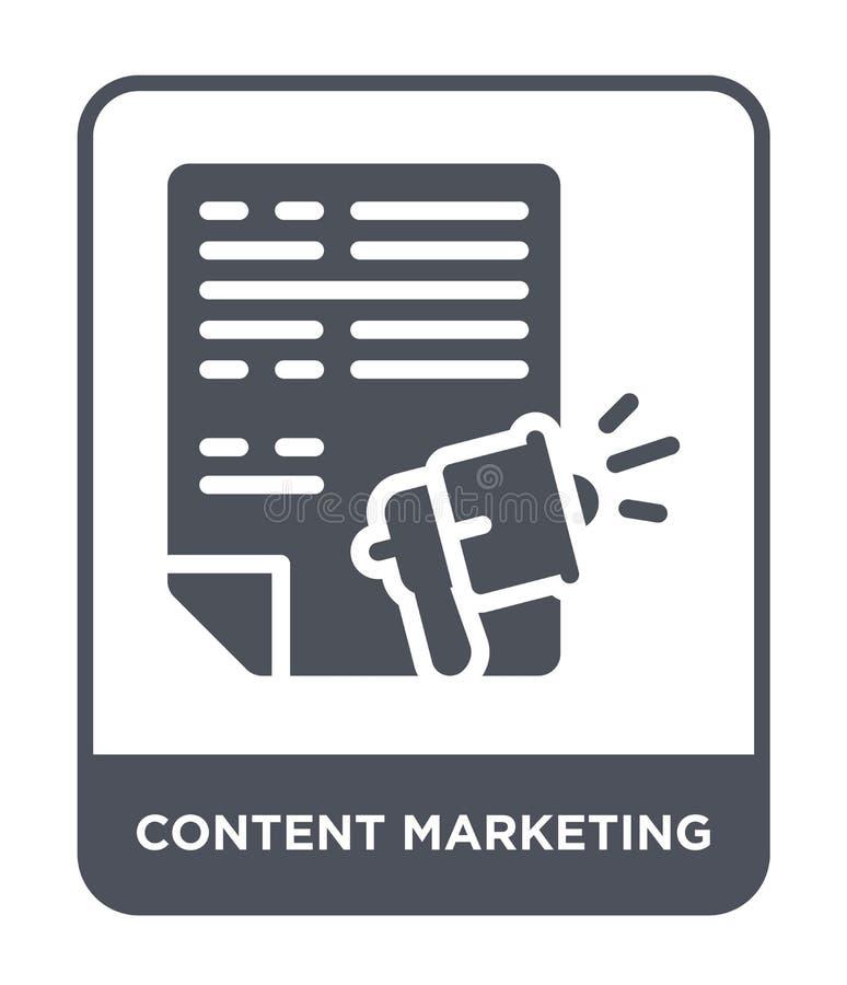 icono de comercialización contento en estilo de moda del diseño icono de comercialización contento aislado en el fondo blanco ico ilustración del vector