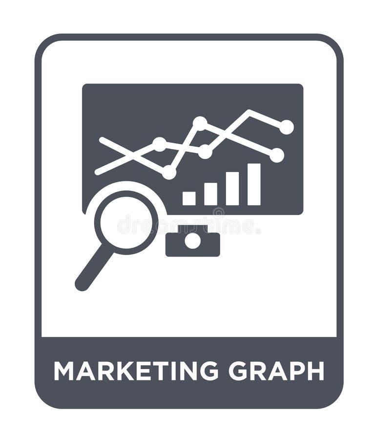 icono de comercialización del gráfico en estilo de moda del diseño icono de comercialización del gráfico aislado en el fondo blan libre illustration