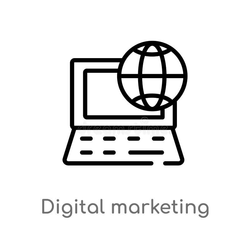 icono de comercialización digital del vector del esquema línea simple negra aislada ejemplo del elemento del concepto de comercia libre illustration