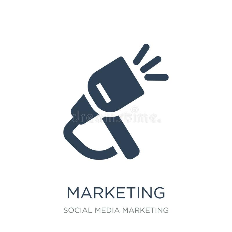 icono de comercialización en estilo de moda del diseño Icono del márketing aislado en el fondo blanco plano simple y moderno del  libre illustration