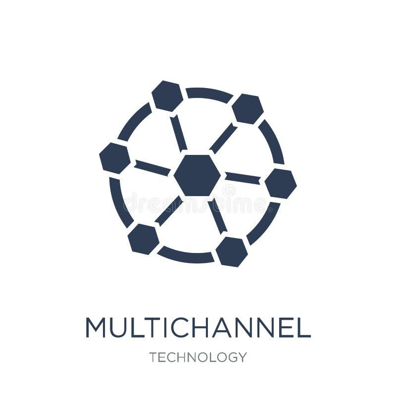 Icono de comercialización de varios canales Vector plano de moda marcha de varios canales ilustración del vector