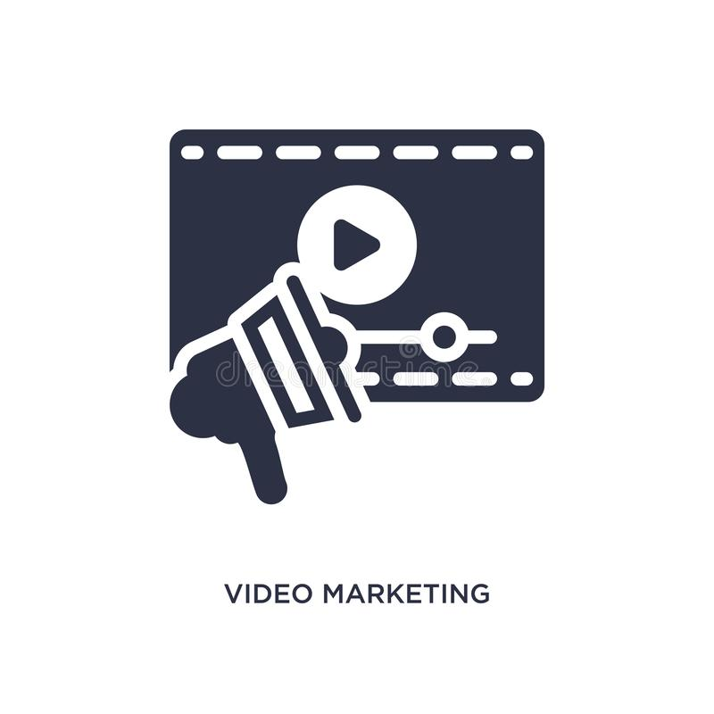 icono de comercialización video en el fondo blanco Ejemplo simple del elemento del concepto del márketing libre illustration