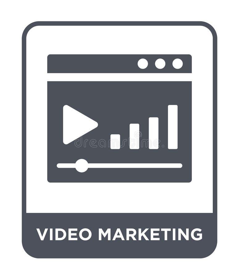 icono de comercialización video en estilo de moda del diseño icono de comercialización video aislado en el fondo blanco icono de  stock de ilustración