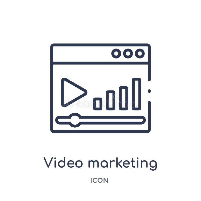 Icono de comercialización video linear de la colección del esquema del márketing Línea fina icono de comercialización video aisla stock de ilustración