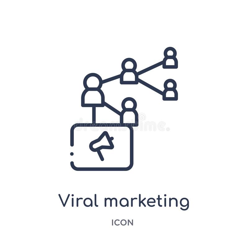 icono de comercialización viral de la colección del esquema de la optimización del Search Engine Línea fina icono de comercializa libre illustration