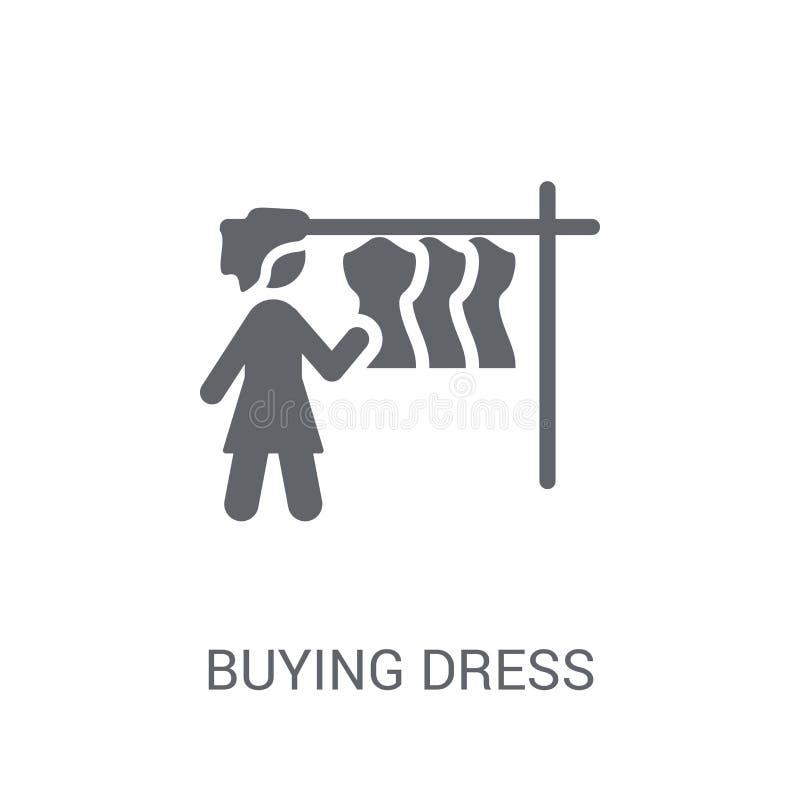 Icono de compra del vestido Concepto de compra de moda del logotipo del vestido en el CCB blanco libre illustration