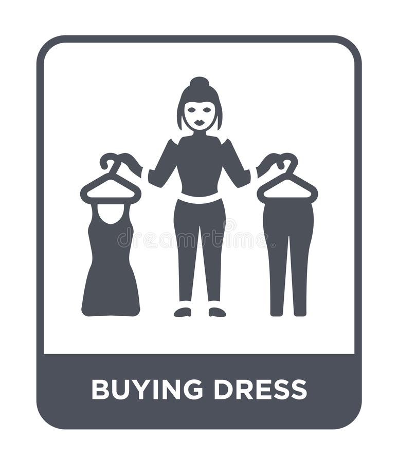 icono de compra del vestido en estilo de moda del diseño icono de compra del vestido aislado en el fondo blanco icono de compra d ilustración del vector
