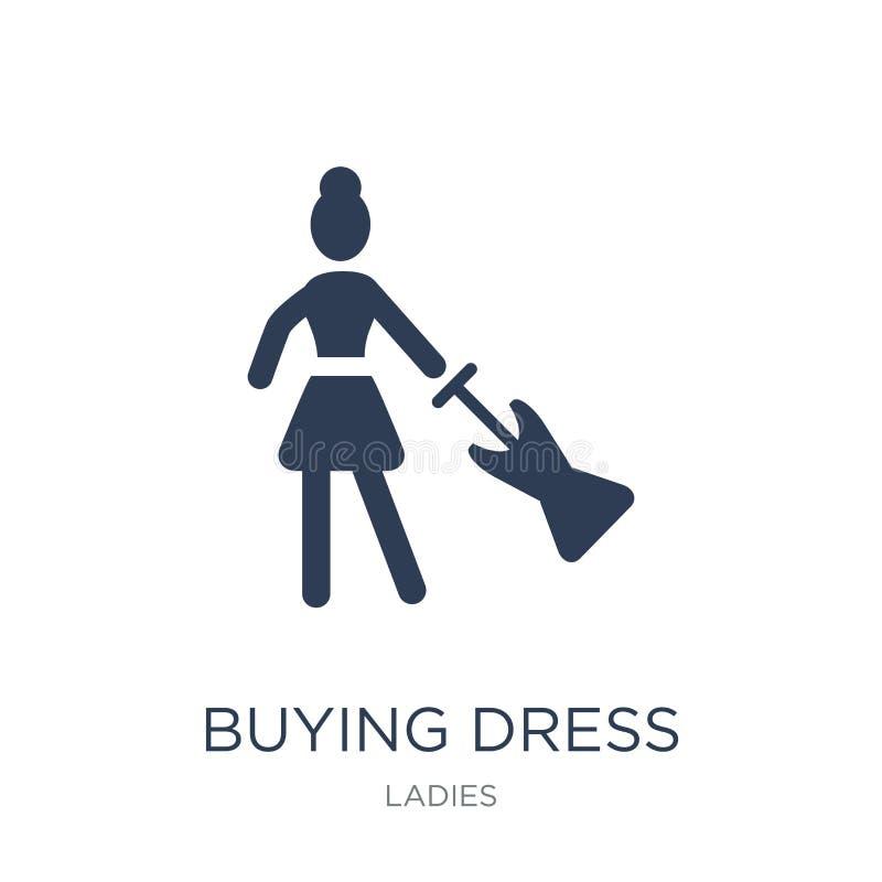Icono de compra del vestido Icono de compra del vestido del vector plano de moda en blanco stock de ilustración