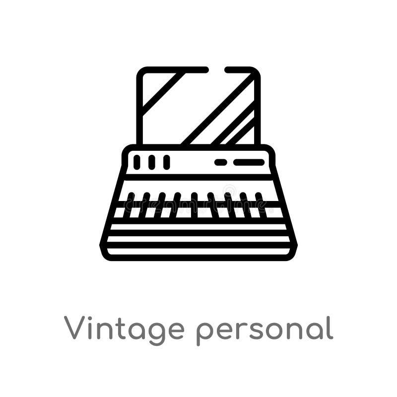 icono de computadora personal del vector del vintage del esquema línea simple negra aislada ejemplo del elemento del concepto de  ilustración del vector